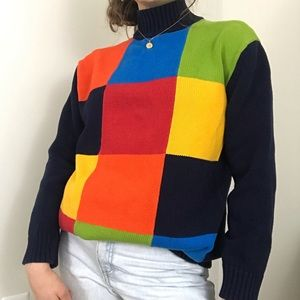 Vintage • Rainbow Grid Colorblock Mock Turtleneck